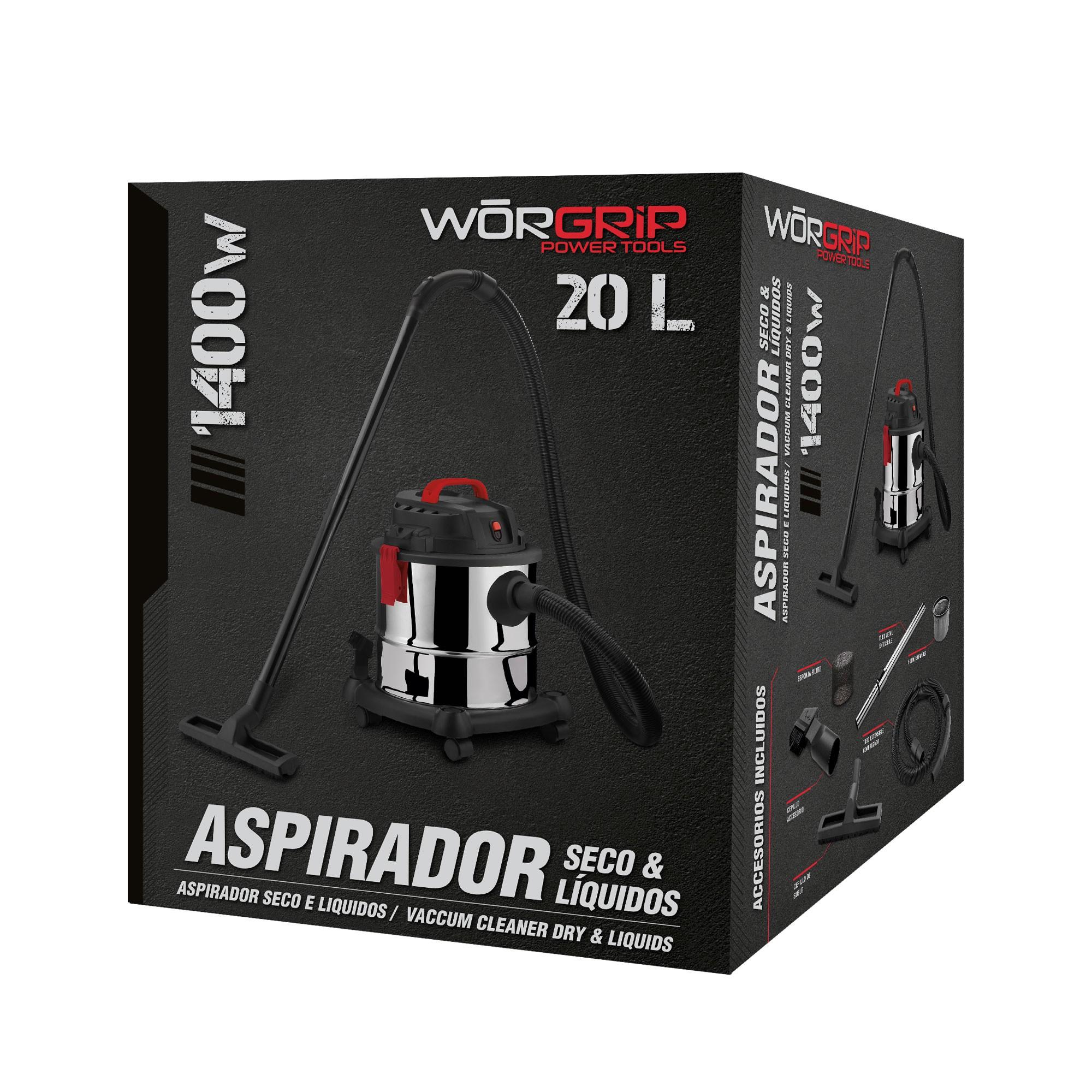 Aspirador polvo-líquido Worgrip 1400W 20 litros